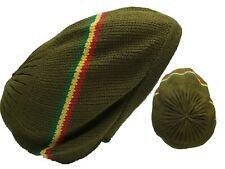Green Striped  Beret Tam Hat Rasta Slouch Beanie Cap Dreadlocks Dreads Hair M/L
