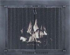 "Stoll Glass Fireplace Door Philadelphia Charcoal w/ Pull Mesh 35"" x 30.5"""