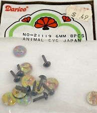 Vintage Darice Animal Eyes 8-Piece Packs 6mm Size, Brown # 21119-Bears, Puppets