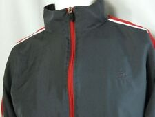 Mens Starter Warm Up Jacket Track Athletic Zip Front Mock Collar Gray Red Sz M