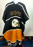 NFL NEW ORLEANS SAINTS VINTAGE HAND MADE PONCHO LARGE HELMET EMBLEM ON FRONT #9