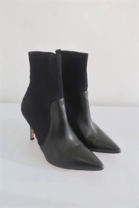 Gianvito Rossi Sock Booties Katie Black Leather & Knit Size 36 Ankle Boots