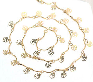 Womens Flower Charms Gold Jewelry Chain Necklace Choker Vintage Jewellery Ladies