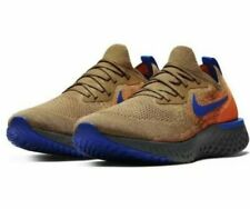 58602ee80307 Nike Epic React Flyknit Size 12 Golden Beige Racer Blue AV8068 200 New NIB