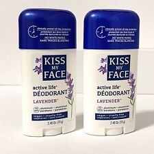 2 Kiss My Face Active Life Deodorant LAVENDER Vegan Cruelty Free 2.48oz New