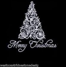Merry Christmas Tree Rhinestuds Rhinestone Iron on T Shirt Design   DW9D