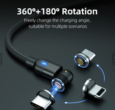 Rotation 3A Fast Charging Magnetic Data Transfer Cable L-shape 540 Degree 3 in 1