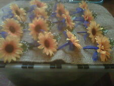 7 X wedding sunflower buttonhole  corsages .royal blue organza ribbon & bow