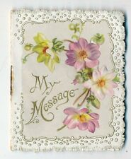 "c1890 Lovely Die Cut Embossed ""My Message"" New Year Card, Fanny Goddard Poem"