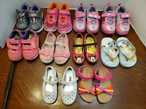 Lot Of 10 Toddler Girls Shoes Sneakers Dressy Sandals - Size 7/8