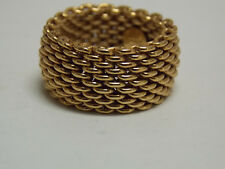 Tiffany & Co Somerset Collection Mesh Flex Ring on 18K Yellow Gold Size 6.75-7