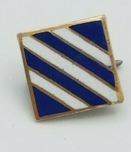 Blue White Stripe Enamel on Gold Metal Tie Tack Pin With Back Clasp Marked 10K