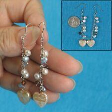 Pink Coin Pearl Dangle Hook Earrings Tpj Solid Silver 925 O Chain Heart Shape