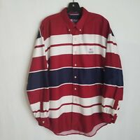 Vintage Chaps Ralph Lauren Men's Large Red White Blue Button Down L/S Shirt C327