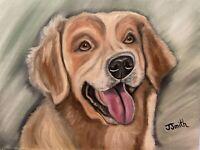 Original oil painting artwork happy golden retriever dog 11 x 14 signed canvas