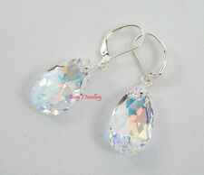 CLEAR AB Crystal Teardrop Earrings Swarovski Elements & 925 Sterling Leverbacks