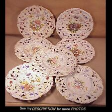 (7) Antique Italian Tin Glazed Faience Reticulated Floral Plates A Z Nove