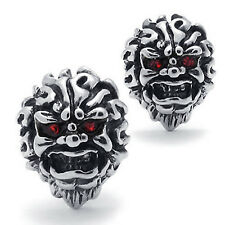 MENDINO Men's Stainless Steel Stud Earrings Mosaic Red CZ Eyes Skull Head Gothic
