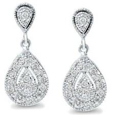 1/2 ct Pear Shape Dangle Diamond Earrings 10 Karat White Gold