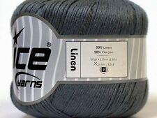 Lot of 6 Skeins Ice Yarns LINEN (50% Viscose) Hand Knitting Yarn Dark Grey