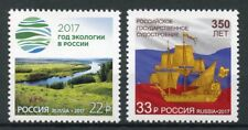 Russia 2017 MNH Ecology & Shipbuilding 2v Set Nature Plants Boats Ships Stamps