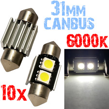 10 Lamp Navette 31mm 6000k LED SMD5050 CANBUS Blanc Compteur Voiture PLAQUE 2A12