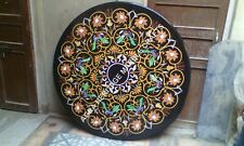 """36"""" Marble Black Dining Outdoor Table Top Inlay Marquetry Italian Decor H1972A"""