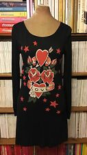 ALICE by Temperley 'Mini Amor' Heart Tattoo black t-shirt dress UK 8 US 4 pinup