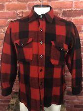 Vtg Eddie Bauer Buffalo Red Black Plaid Hunting Wool Button Down Jacket Xl (R1)