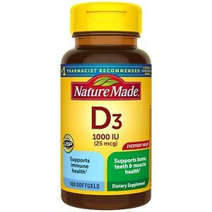 Vitamina D3 Nature Made  1000 IU (25 Mcg) Softgels 100 Huesos Dientes y Musculos