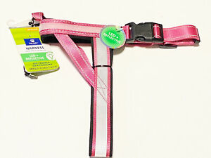 Top Paw® LED & Reflective Rechargeable Adjustable Pink Dog Harness (NWT size M)