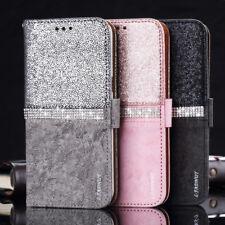 Handy Hülle Bling Glitzer Leder Tasche Schutz Strass für iPhone Samsung Huawei