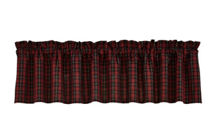 Park Designs DORSET Unlined Window Valance - Dark Country Red and Black Plaid