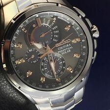 New Seiko SSC561 Coutura Solar Chronograph Stainless Steel Diamond Men's Watch