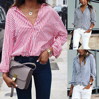 Women V Neck Tops Long Sleeve Striped Work Shirt Casual OL Ladies Blouse T-Shirt