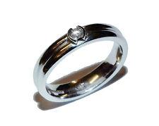Completamente MARCHIATO Oro Bianco 18ct e 0.05ct Diamanti Fancy 4mm Band-Taglia L 1/2