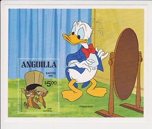 ANGUILLA STAMP MINIATURE SHEET EASTER 1981 DONALD DUCK CHIP & DALE DISNEY MNH