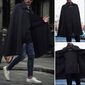 Autumn Men's Poncho Cape Coat Jacket Cloak Warm Outwear Coat Jumper Outwear Tops