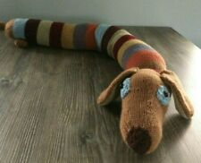Hand Knitted Sausage Dog Draught Excluder/Toy: by KnittedNature