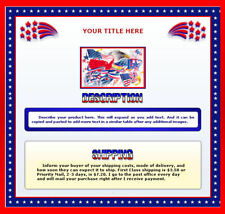 AUCTION TEMPLATE Patriotic Border Design Red White & Blue - FREE Shipping