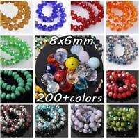30pcs 6x8mm Rondelle Faceted Crystal Glass Loose Spacer Beads lot Jewelry Making