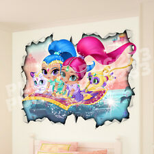 Shimmer and Shine 3D Look Wall Vinyl Sticker Poster - Childrens Bedroom Mural
