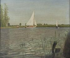 More details for original sail boat painting signed by artist a.dawes 49.5cm x 57.5cm