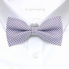 *Brand New* Purple&White Small Checked Hard-To-Find Tuxedo Boys Bow Tie B964