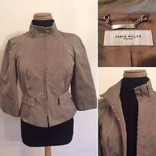 Karen Millen Taupe Brown Futuristic Peplum Hook & Eye Jacket - UK 10 12 - VGC