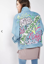 TOPSHOP Moto Grafitti Print Jacket, Denim, Distressed, Oversized, Size 4US, EUC