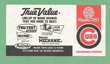 MLB BASEBALL 1980 CHICAGO CUBS pocket schedule TRUE VALUE