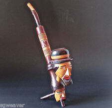 Vintage Hand Carved Wood Two Headed Folk Art Decorative Pipe