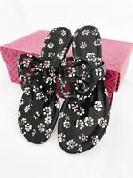 Tory Burch Miller Sandals Thong Flip Flop Patent Leather Black Floral 7.5