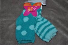 M Girl Maidenform 2 Pack Cozy Socks Girls Size Small Green Stripe/Polka Dot NWT